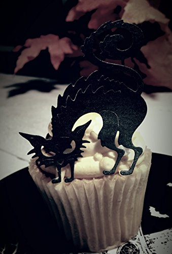 Edible Halloween Black Cat Cupcake Toppers Set of -