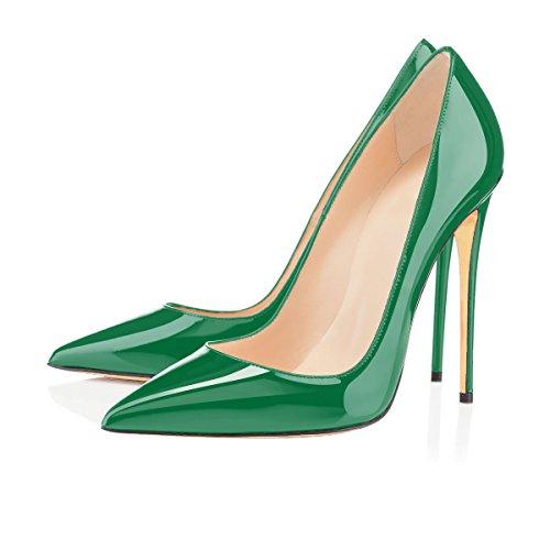 uBeauty Damen High Heels Stilettos Slip-on Pumps Spitze Zehen Sexy Übergröße Schuhe Grün