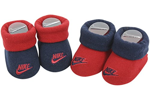 Nike Infant Boy's 2-Pair Futura Contrast Cuff Gym Red Booties Set Sz: 0-6 M