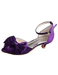 Wedopus MW370 Women's Bows Ankle Strap Peep Toe Low Heels Purple Satin Bridal Wedding Shoes