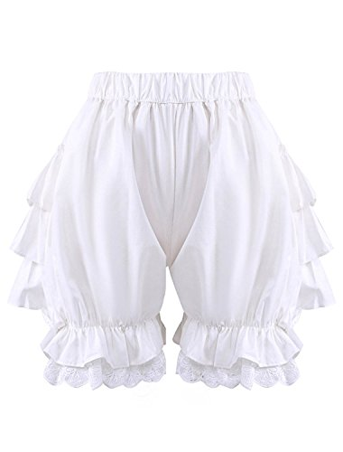 Antaina White Lace Cotton Victorian Ruffles Lolita Pumpkin Bloomers Shorts (Lovely Cotton Short)