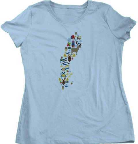 SWEDEN MAP Ladies Cut T-shirt Stylized Map of Sverige / Swedish Symbol Tee
