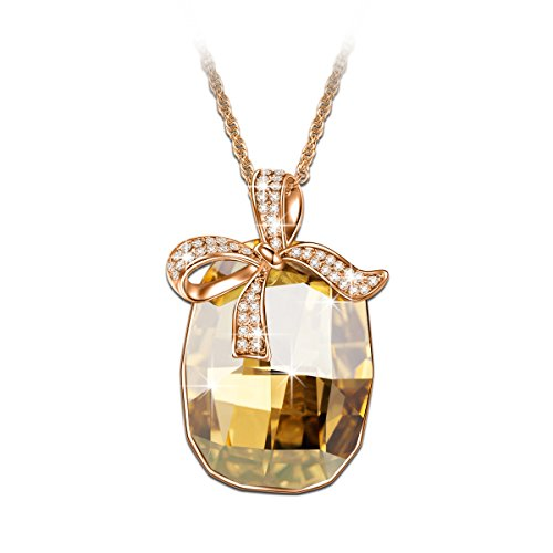 Butterfly Fashion Jewelry - Brilla Swarovski Elements Crystal Fashion Necklace Pendants Jewelry for Women (Butterfly/Heart of The Ocean/Wishing Trees/Lucky Trefoil) (Magi-Yellow)