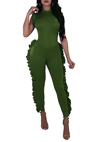 Chellysun Women Deep V Neck Jumpsuit Ruffle Sleeveless Romper One Piece Outfits Bodysuit,Army Green,Large Army One Piece Bodysuit