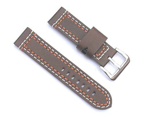 24mm Leather Thick Brown with Orange and White Thread Watch Band with 2 Spring ()