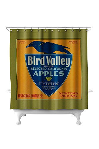(Bird Valley Apple Crate Label (71x74 Polyester Shower Curtain))