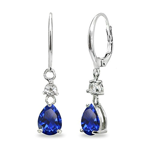 Sterling Silver Created Blue Sapphire & White Topaz 8x6mm Teardrop Dangle Leverback Earrings Blue Sapphire Drop Earrings