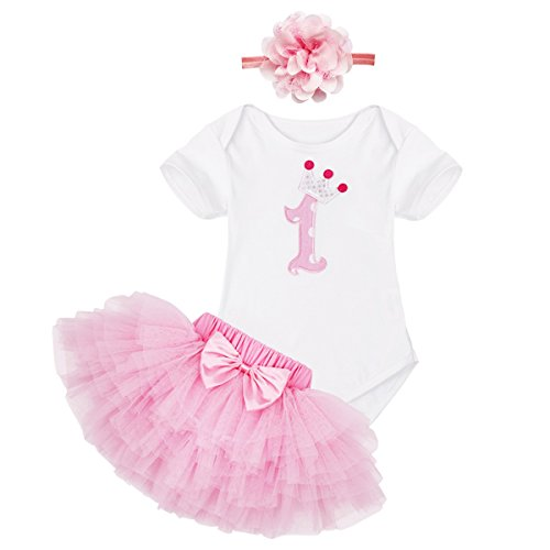 FEESHOW Baby Girls First/1st Birthday Outfit Bodysuit Tutu Skirt Dress with Headband Set (First Halloween Outfit)