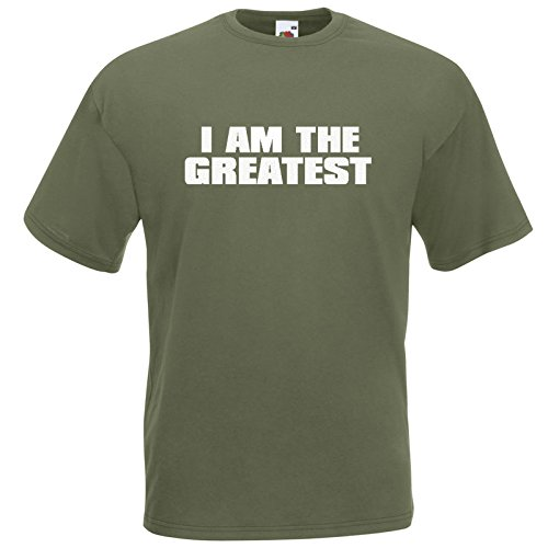 I AM THE GREATEST T-Shirt Olive / Druck Weiß