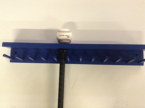 Baseball Bat Rack and Ball Holder Display Meant to Hold 11 Full Size Bat and 6 Baseballs Blue