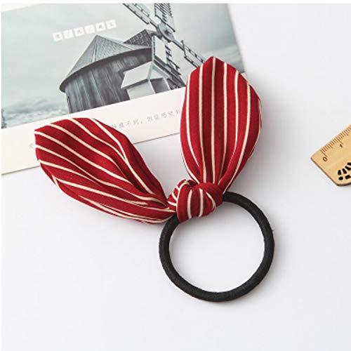 Korean Hair Ring Elastic Rope Ponytail Holder tie Hair Rubber Band Head Flower Hair Accessories Leather trinkets (Bordeaux White Stripes