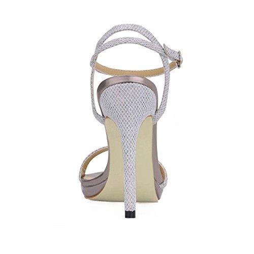 COLORS MULTI Stiletto Heeled DolphinBanana Sparkle SM00601 Shoes Simple Women Pumps Dress Grey Sandal UxX4BAwq