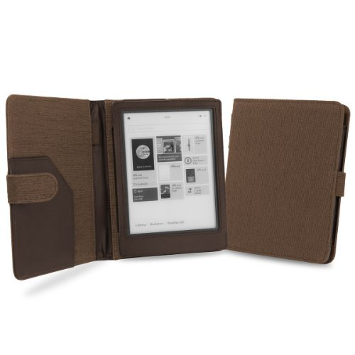 Cover-Up Kobo Aura HD Tablet (6.8) Natural Hemp Cover Case With Auto Sleep / Wake Function (Book Style) - Cocoa Brown