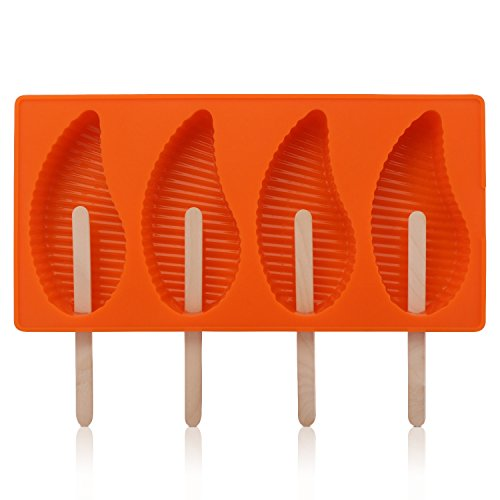 Mango Shape Popsicle Molds, Beasea 4 Cavities Silicone Ice Pop Mold, Ice Cream Mold, Candy Frozen Yogurt Holder DIY Handmade Soap Kitchen Tools with 50 Wooden Sticks