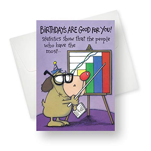 ([12 Pack] Northern Cards - Statistics (Birthday) Premium Quality Greeting Card with Unique Dog Design - 5.5
