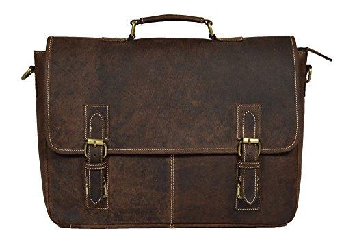 ADIMANI Vintage Crazy Horse Hunter Leather Laptop Briefcase Bag Notebook Travel Messenger Bag 16 inches by ADIMANI