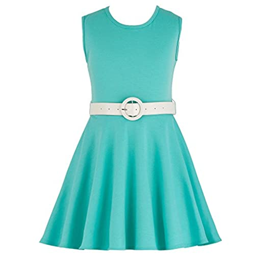 Wonder Girl Skater Dress Big Girls Ponte Di Roma Fabric Pleather Belt Set 10 Aqua