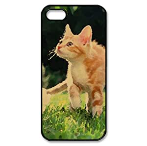 Orange Tabby Kitten Watercolor style Cover iPhone 5 and 5S Case (Pets Watercolor style Cover iPhone 5 and 5S Case)