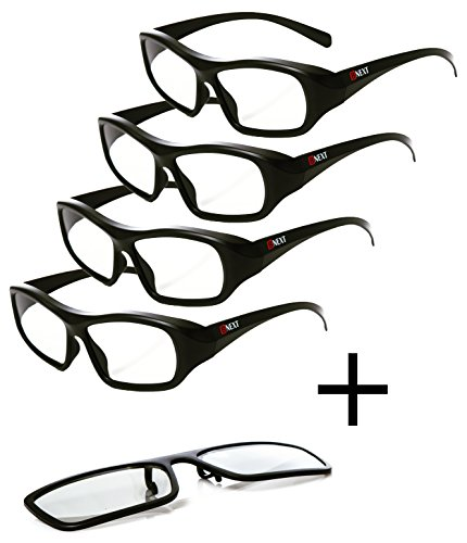 Passive 3D Glasses for LG, Sony, Panasonic, Toshiba, & more Passive 3D TVs for Watching Movies – Family Pack 4 Glasses Plus 1 Clip On – New Polarized Lenses for Better Eye Protection