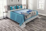 Ambesonne Landscape Bedspread Set Queen Size, Window with View of Classical Building with Blue Domes Oia Santorini Greece, Decorative Quilted 3 Piece Coverlet Set with 2 Pillow Shams, Aqua Blue White