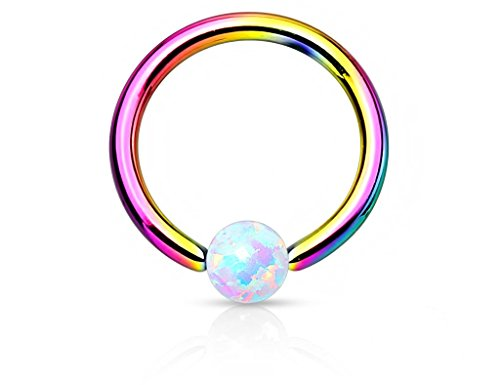(16g 8mm Surgical Steel Synthetic Opal & Rainbow Titanium IP Plated CBR Hoop Ring )