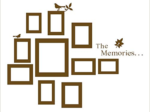 Wall Removable Vinyl Lettering - The Memories Quotes Wall Decor with 10 Photo Frames Wall Sticker DIY Removable Vinyl Family Lettering Sayings Wall Decor (Brown)