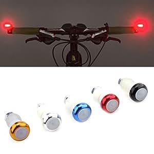 VGEBY 2Pcs Tapones Manillar con Luz Intermitentes para Bicicleta Luz Señal Indicador de Dirección (Color : Rojo)