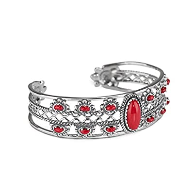 American West Sterling Silver Red Coral Floral Cuff Bracelet- Small to Large - Classics Collection