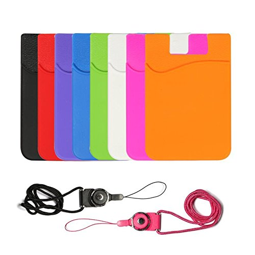 8 Packs of Color Silicone 3M pasteable Phone Card Back Wallet, Credit Card ID Card Safe Bag Cover, Apply to Apple iPhone Samsung Android Smart Phone, Table, Refrigerator, Door, etc.