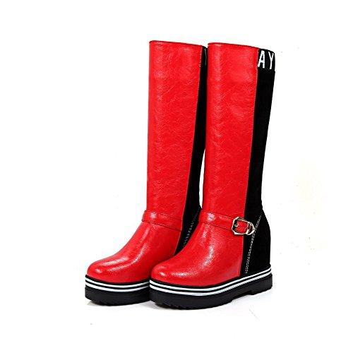 AllhqFashion Damen Rund Zehe Hoher Absatz Flaum Futter Rein Ziehen auf Stiefel, Rot, 34