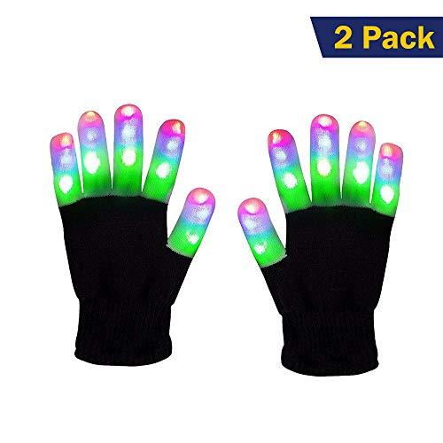 Light Gloves - (2 Pack) - Pair LED Finger Light Gloves Warm, Flashing LED Light Up Gloves and 6 Different Modes for Light Up Glove Kids, Gifts Ideas and LED -