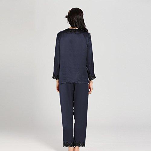 Lilysilk Conjunto de Pijama de Seda Contraste Recorte con Cordones Azul Marino