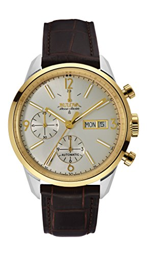 Bulova-Mens-Automatic-Stainless-Steel-and-Leather-Casual-Watch-ColorBrown-Model-65C112
