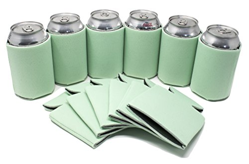 TahoeBay 12 Can Sleeves - Mint Beer Coolies for Cans and Bottles - Bulk Blank Drink Coolers – DIY Custom Wedding Favor, Funny Party Gift (Mint, 12)