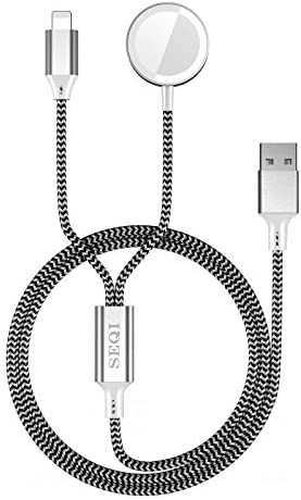 SEQI Watch Charger, 2 in 1 Magnetic Wireless Charger, Nylon-Braided Charger Cable Compatible for Apple Watch Series 1-6/SE, for iPhone 12/11/X, for iPad and for AirPods (Black)