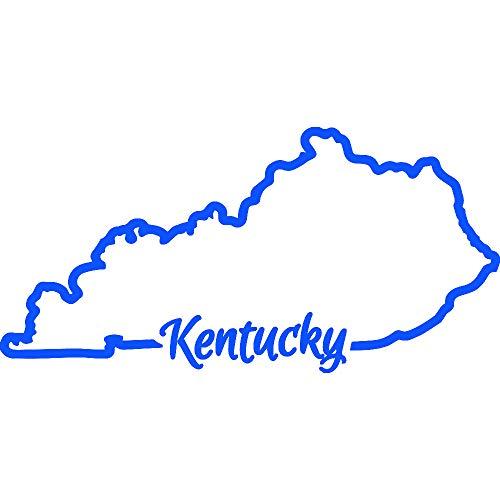 Kentucky Decal Set - Kentucky State MAP Outline (Azure Blue) (Set of 2) Premium Waterproof Vinyl Decal Stickers for Laptop Phone Accessory Helmet Car Window Bumper Mug Tuber Cup Door Wall Decoration