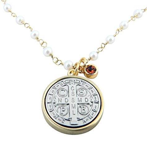 - Vintage Blessings Gold and Silver Toned Base Saint Benedict Medal Necklace, 3/4 Inch