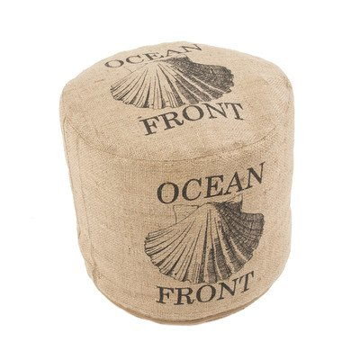 Coastal-Designed-Modern-Round-Ottoman-Pouf-In-A-Natural-Beige-Jute-Upholstery-Completed-With-An-Ocean-Front-Graphic-Print
