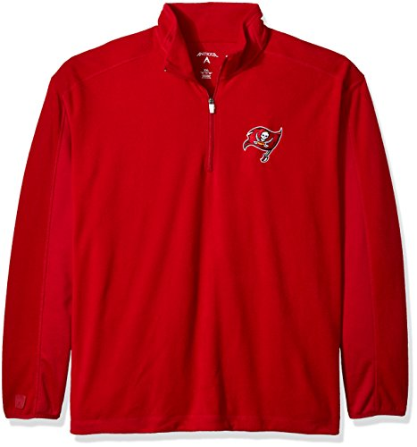 Antigua NFL Men's Tampa Bay Buccaneers 3/4 Zip Fleece Pullover (Dark Red, (Antigua Fleece)