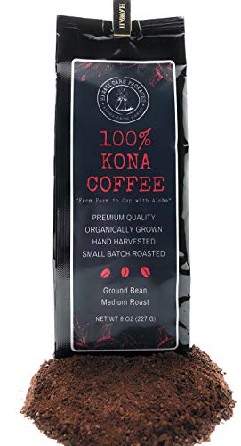 100 Percent Kona Coffee - Ground Bean, Organically Grown, Fresh From Hawaii, Roasted in Small Batches, Medium Roast, 8 ounces -