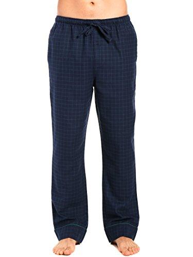 Men's Premium Flannel Lounge Pants - Windowpane Checks - Navy Green - - Check Flannel Pant Pajama