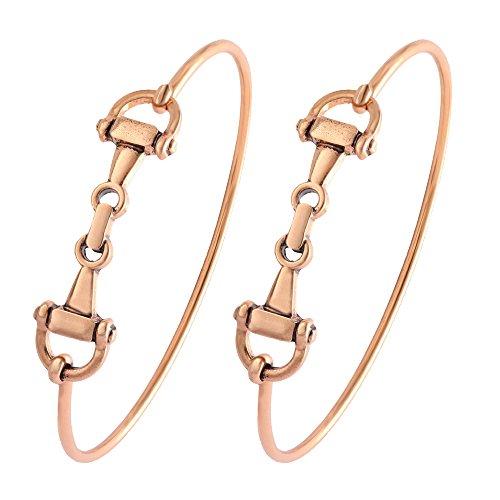 SENFAI Horse Snaffle Bit Hook Clasp Charm Bracelet Bangle Jewelry (Antique Plated Bracelet 2 pcs Set, Rose-Gold-Plated-Base)