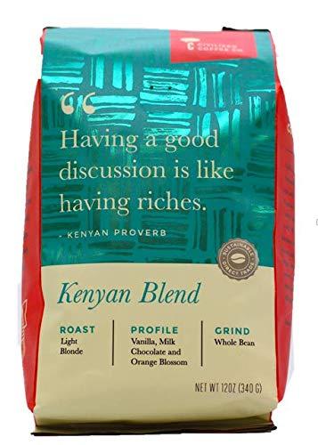 Kenyan Blend Whole Bean Arabica Coffee, Light Blonde Roast, Gourmet Comfort Coffee (12oz vented bag)