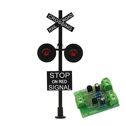 - JTD877RP 1 Set HO Scale Railroad Train/Track Crossing Sign 2 Heads LED Made + Circuit Board Flasher-Flashing Red Train Stop Signal Lights Decoration Party