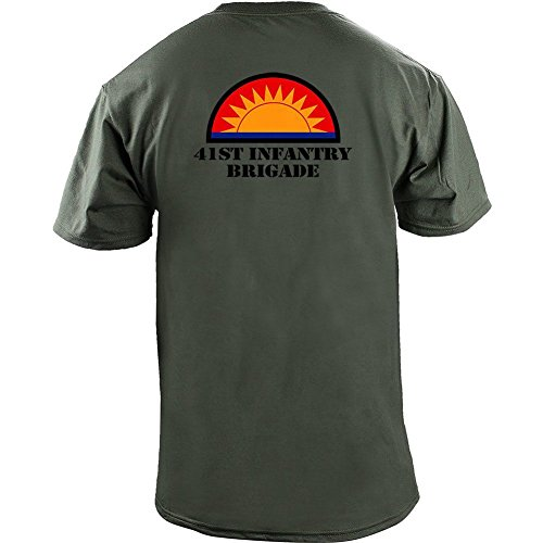 Brigade Fitted T-shirt - Army 41st Infantry Brigade Veteran Full Color T-Shirt (XL, Green)