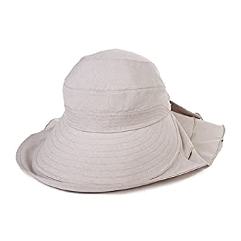 Ladies Summer Sun Hat Cap UPF 50+ Ponytail Large Brim with Neck Cover Bill Flap Cord for Women Beige