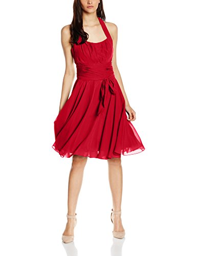 Rot Astrapahl Damen Rot Kleid Neckholder Knielang Cocktail 7Svq0
