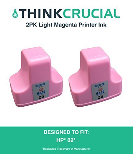 2 High Quality Replacement Light Magenta Toner Ink Cartridges, Fit HP Photosmart Printers, Part C8721WN, HP 02, by Think Crucial