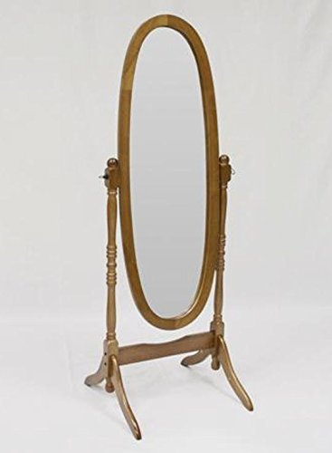 Adela Oak Finish Wood Cheval Mirror by Crown Mark