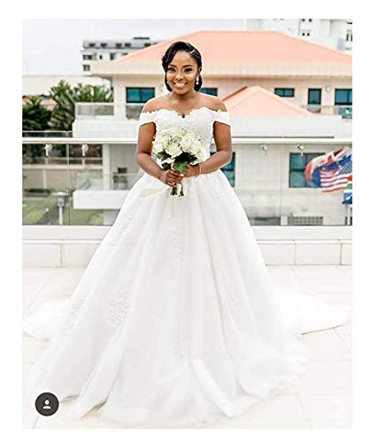 Princess Off The Shoulder Wedding Dresses Bridal Ball Gown 2019 Lace Applique Wedding Dresses for Bride 2019 White - Shops Princess Brides Bridal